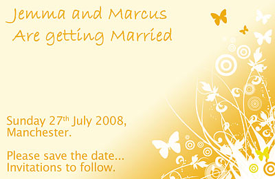 Wedding save the date Butterfly