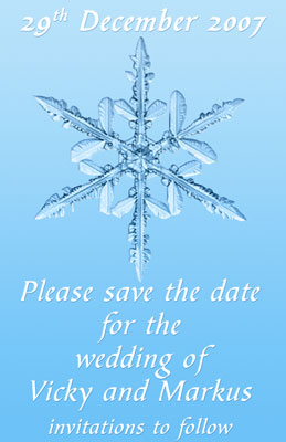 Wedding save the date Snow flake
